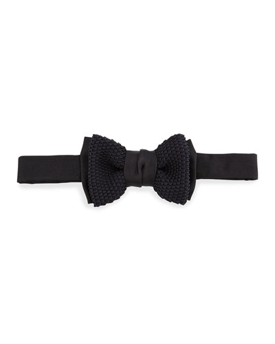 Layered Knit Bow Tie, Black
