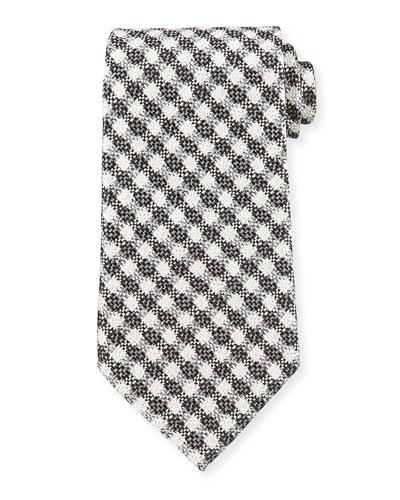 Plaid Houndstooth Tie, Gray