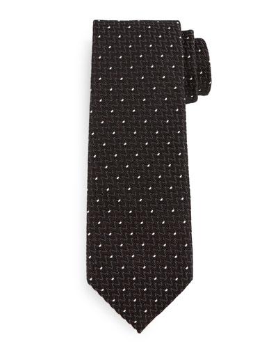 Dotted Zigzag Silk Tie, Black