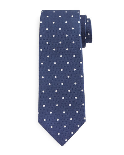 Polka Dot-Print Silk Tie, Blue