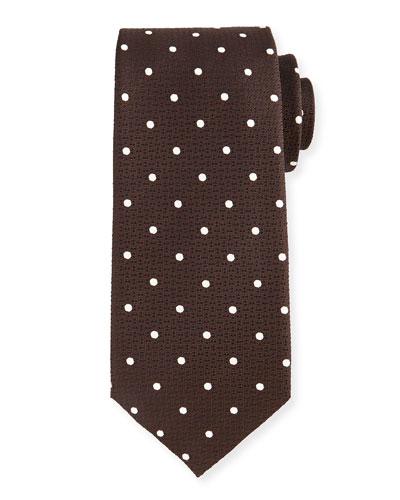 Polka Dot-Print Tie, Brown/White