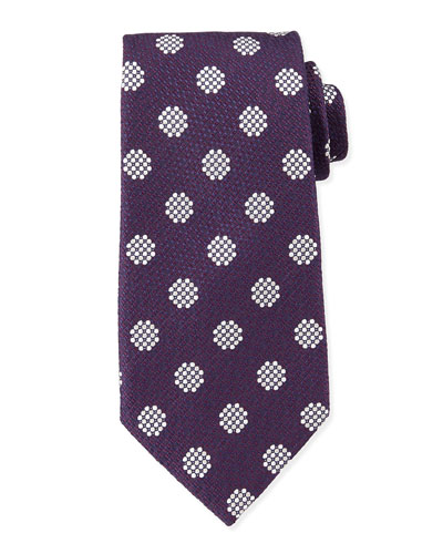 Textured Large-Dot Woven Tie, Navy