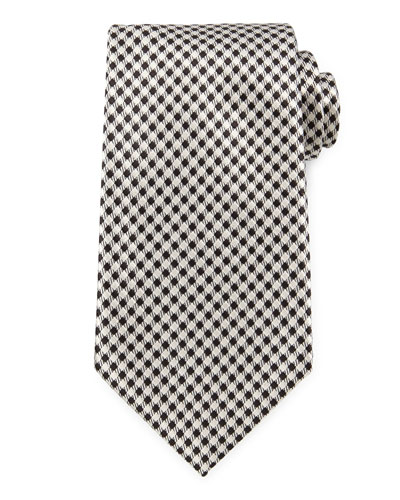 Wide Check Woven Tie, Black