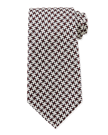 Checkered Box Woven Tie, Burgundy