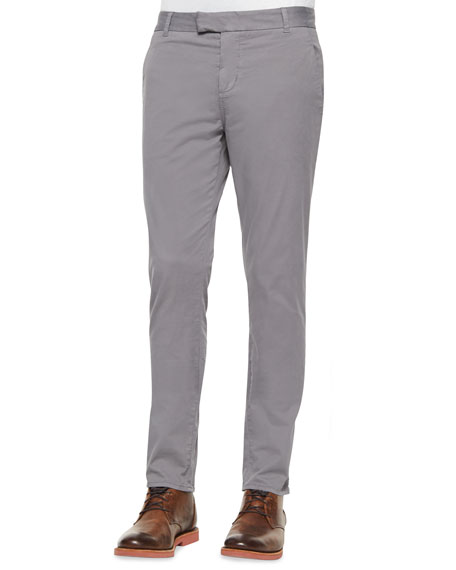 J Brand Jeans Brooks Slim-Fit Chino Trousers, Gray