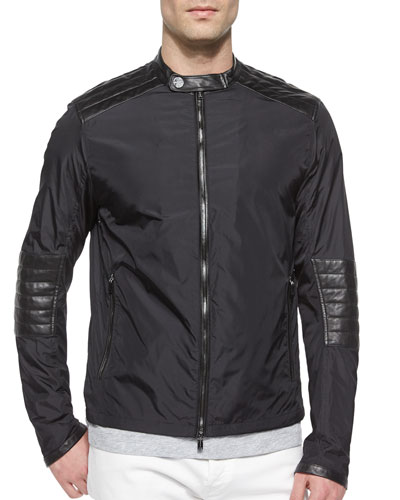 Nylon Moto Jacket with Leather Trim, Black
