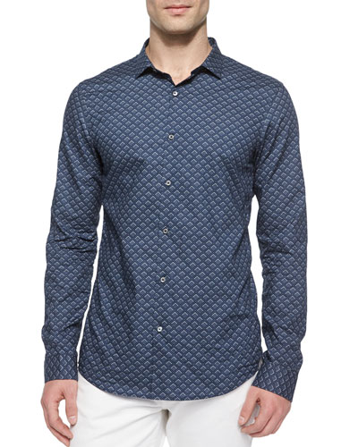 Diamond-Print Slim-Fit Shirt, Blue