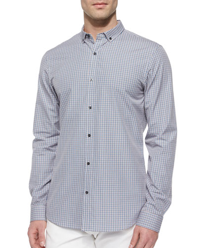 Slim-Fit Check Patterned Shirt, Orange/Blue
