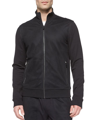 Full-Zip Cotton Track Jacket, Black