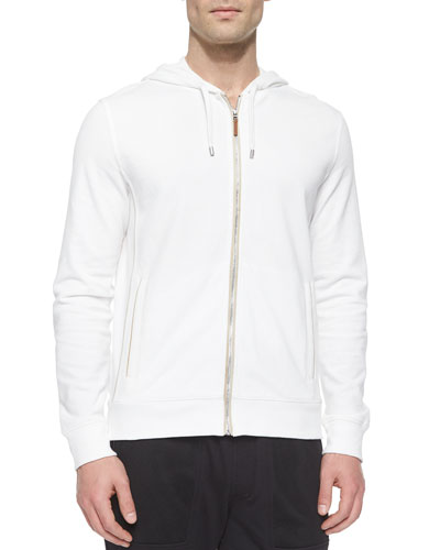 Waffle-Knit Zip-Up Hoodie Jacket, White
