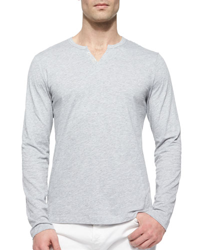 Slub-Knit Henley Tee, Light Gray