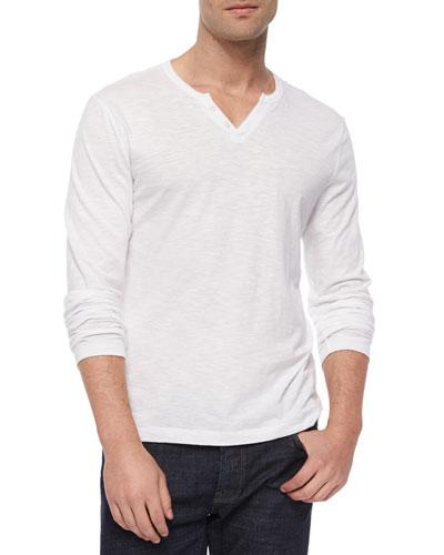 Slub-Knit Jersey Henley Tee, White