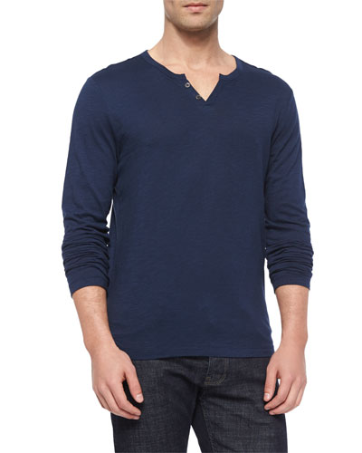 Slub-Knit Jersey Henley Tee, Light Blue