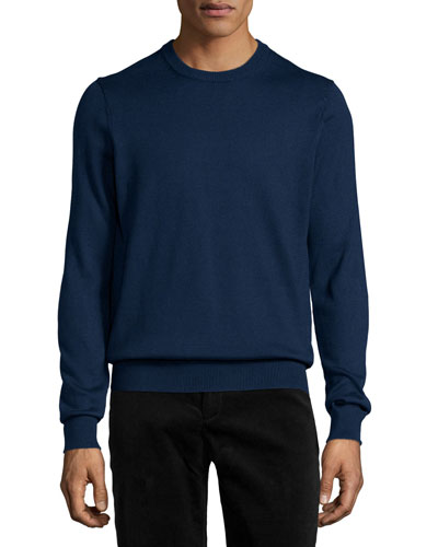 Long-Sleeve Cotton Crewneck Sweater, Blue