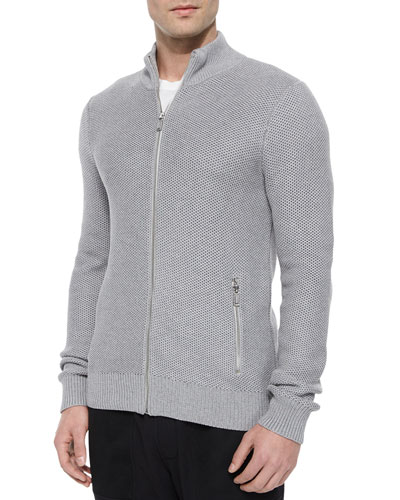 Tuckstitched Full-Zip Jacket, Gray