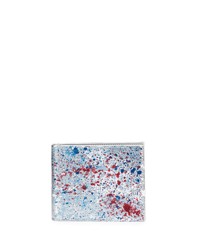 Paint Splatter Metallic Bi-Fold Wallet, Silver