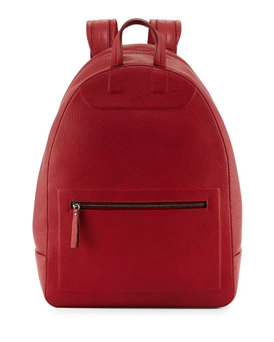 Zip-Top Leather Backpack, Red