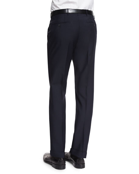 Modern-Fit Wool/Mohair Trousers, Navy