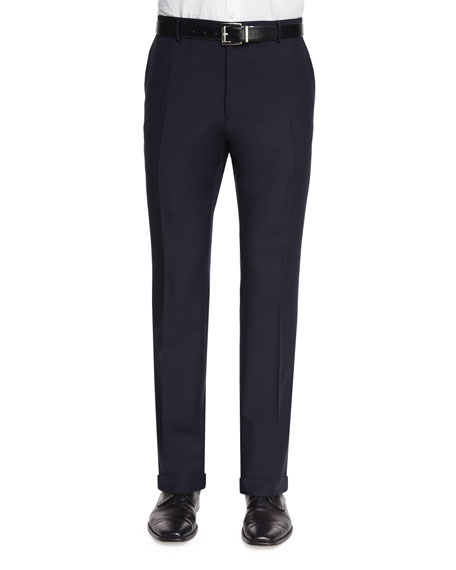 Burberry Modern-Fit Wool/Mohair Trousers, Navy