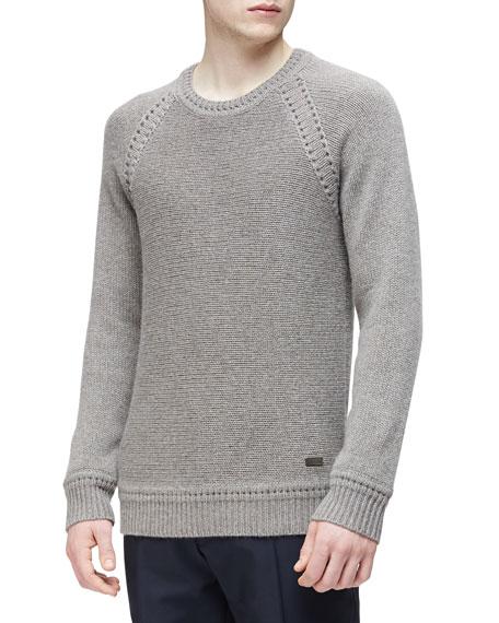Burberry London Cashmere Crewneck Sweater, Taupe