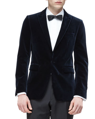 Peak Lapel Velvet Evening Jacket, Navy