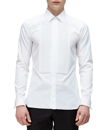 Bib-Front French-Cuff Tuxedo Shirt, White