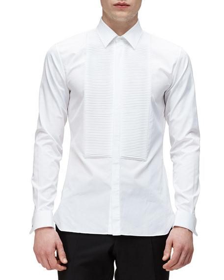 Burberry London Bib-Front French-Cuff Tuxedo Shirt, White