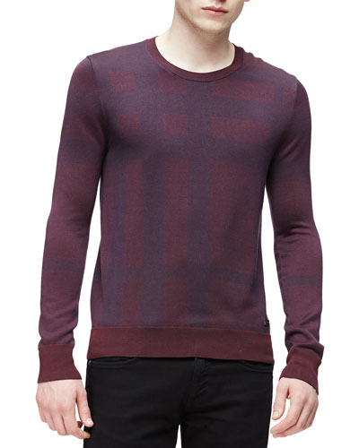 Tonal Check-Print Sweater, Burgundy