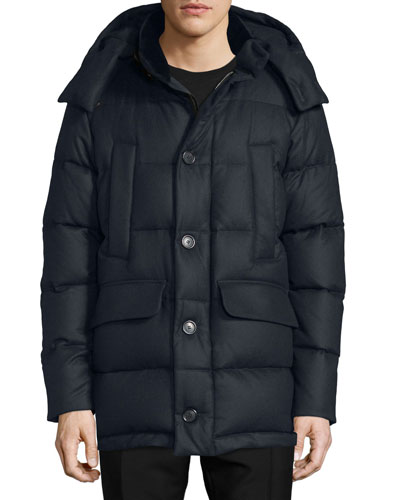 Cashmere Puffer Coat with Fur Trim, Navy