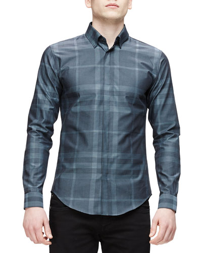 Tonal Check Long-Sleeve Shirt, Blue