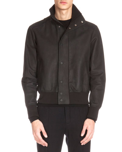 Leather Bomber Jacket, Black