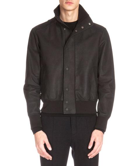 Berluti Leather Bomber Jacket, Black