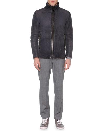 Short Zip-Front Shearling Fur Jacket, Gray