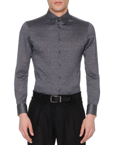 Melange Dot-Print Long-Sleeve Shirt, Charcoal