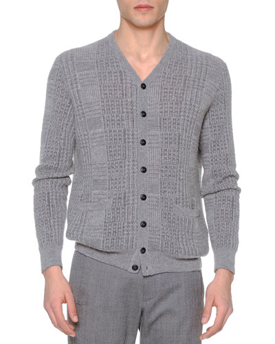 Textured Cashmere/Silk Cardigan, Light Gray
