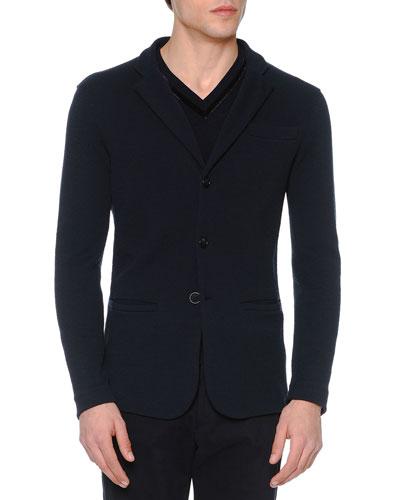Textured Three-Button Soft Jacket, Navy