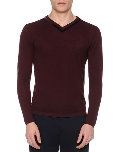 Velvet-Trimmed Pique Sweater, Burgundy