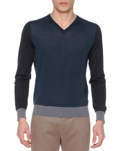 Colorblock V-Neck Sweater, Slate/Gray