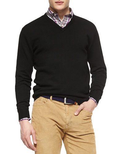 Merino Wool V-Neck Sweater, Black