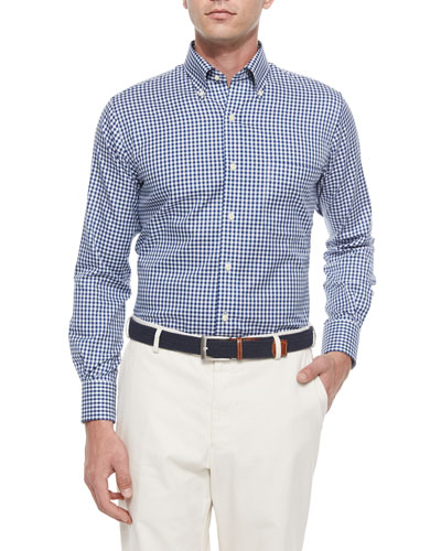 NanoLuxe Check Long-Sleeve Sport Shirt, Navy/White