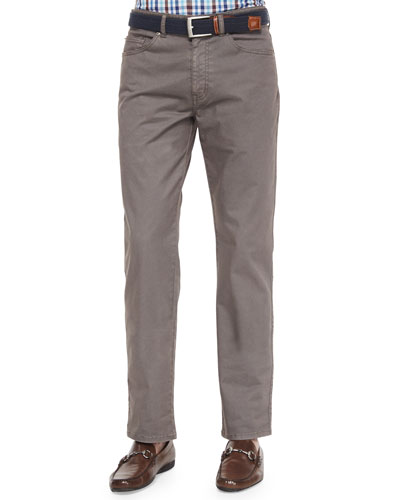 Five-Pocket Stretch-Cotton Trousers, Dark Gray