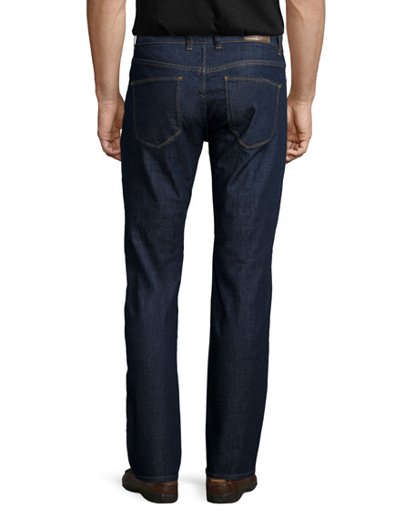Straight-Leg Stretch-Denim Jeans, Indigo
