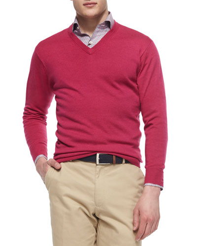 Long-Sleeve V-Neck Sweater, Pink