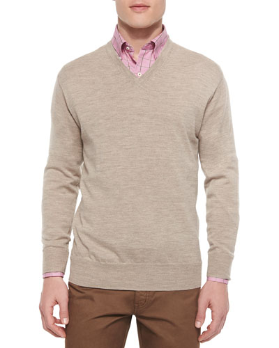 Merino V-Neck Sweater, Tan