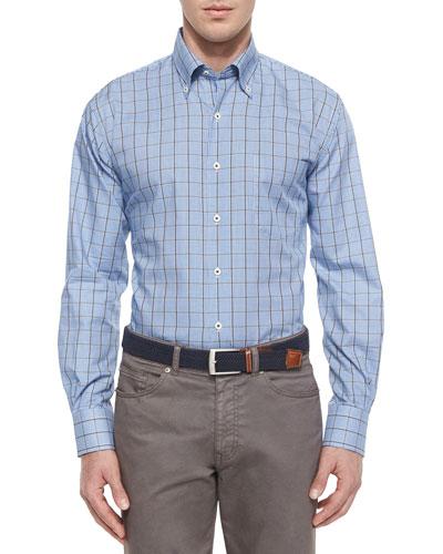 Tattersall Twill Sport Shirt, Blue