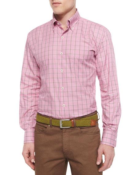 Peter Millar Tattersall Twill Sport Shirt, Pink