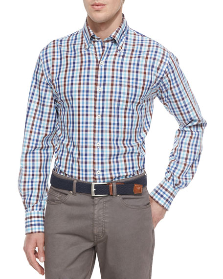 Peter Millar Tattersall Woven Sport Shirt, Navy/White