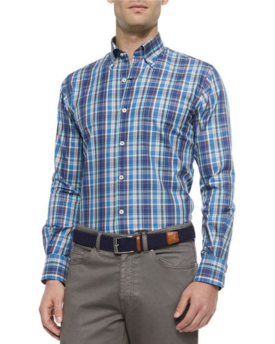 Plaid Long-Sleeve Sport Shirt, Navy