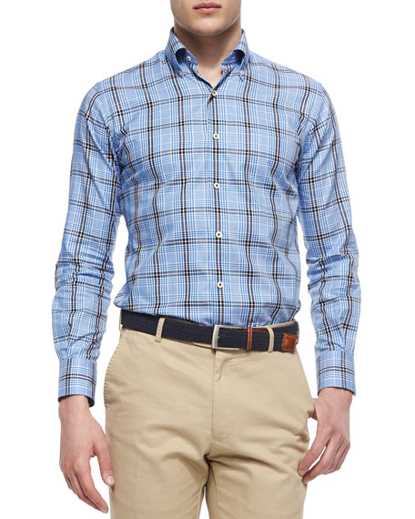 Peter Millar Oxford Multi-Plaid Sport Shirt, Blue