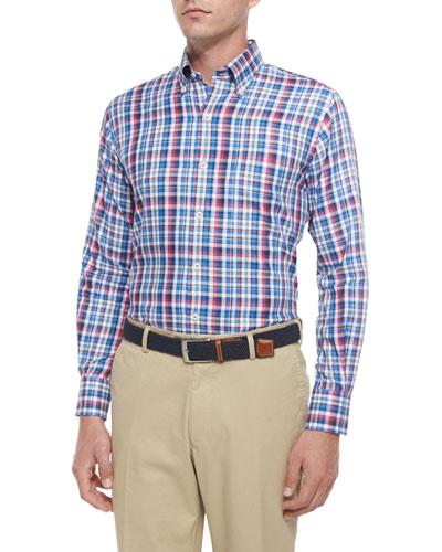 Multi-Plaid Woven Sport Shirt, Blue
